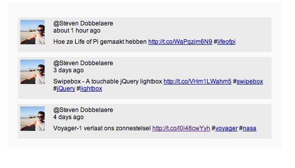 jQuery html 5 twitter plugin (steven dobbelaere)