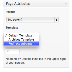 Template to redirect to child page within the menu for WordPress