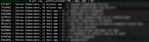 List git commits in terminal